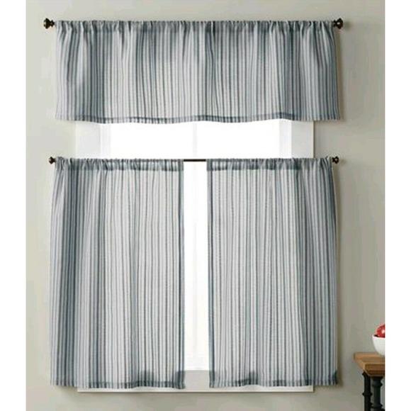 "36"" Window Curtain Set Blue Stripe Valance 2 Panel"